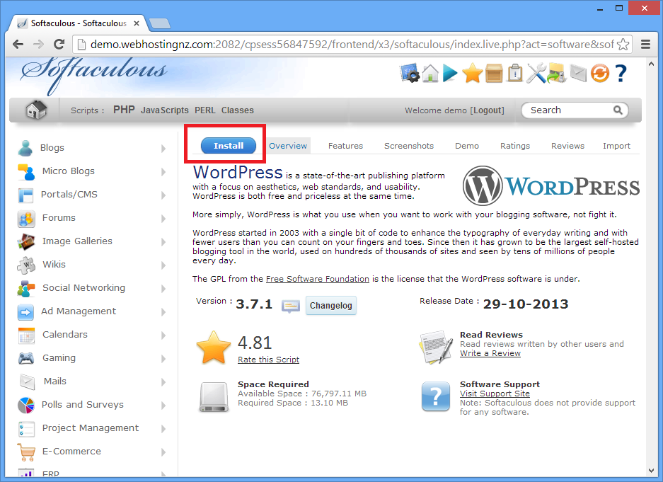 Webhostingnz | How do I install Wordpress on my website?